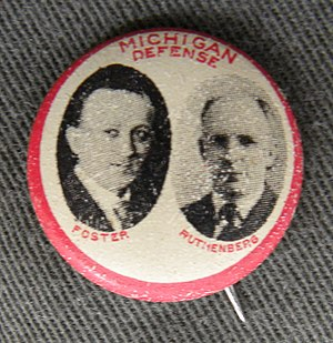 International Labor Defense - Rare pinback button issued by the Labor Defense Council in conjunction with the 1923 trials of chief Bridgman defendants William Z. Foster and C.E. Ruthenberg.