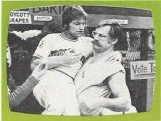 Ball Four (TV series) - Jim Bouton (left) as Jim Barton and Ben Davidson as 'Rhino' Rhinelander in the pilot episode