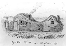 Oyster Huts on Milford Point a sketch by John Warner Barber for his Historical Collections of Connecticut (1836). Barber wrote that he found 15 or 20 of these seaweed-covered huts along the shore when he visited the town in 1836. Oystermen used the huts in the winter.