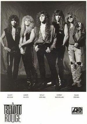 Baton Rouge (band) - Baton Rouge, 1991.  L-R: Scott Bender, Lance Bulen, Kelly Keeling, Corky McClellan and David Cremin.