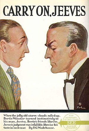 Bertie Wooster - Bertie Wooster (left) as depicted on the cover of Carry On, Jeeves (First edition)