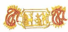 Trois liens du col de l'Ordre;  les initiales entrelacées de la devise, en trau vaste (ferme dans la fidélité) sont entrelacées et en liens alternés, l'image en relief de saint Hubert et des animaux.