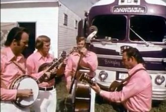 The Country Gentlemen - Country Gentlemen at Carlton Haney's festival, Camp Springs, NC in 1971. L-R Bill Emerson, Doyle Lawson, Bill Yates, Charlie Waller