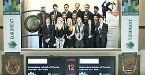 Duisenberg School of Finance - DSF students (class 2015) opening trading at NYSE Euronext in Amsterdam