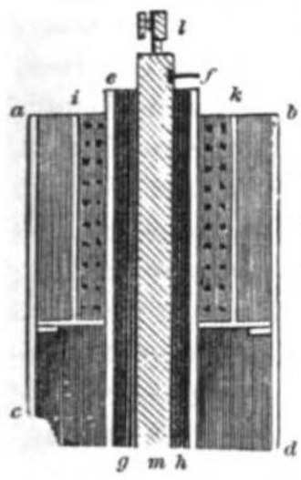 Daniell cell - Diagram of early Daniell cell published by Daniell in 1839.  In this design the original perforated disc has become a cylinder inside the upper part of the cell to hold copper sulfate crystals