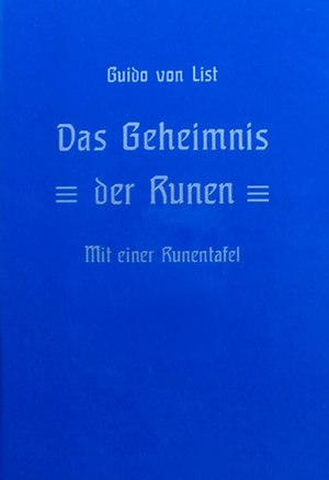 Armanen runes - Cover of the new German reprint published by Adolf Schleipfer