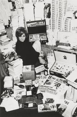 Fluxus - Willem de Ridder's Mail Order FluxShop, Amsterdam, with Dorothea Meijer, winter 1964–65. Photo by Willem de Ridder