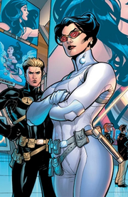Wonder Woman as Agent Diana Prince, with Nemesis. Art by Terry Dodson.
