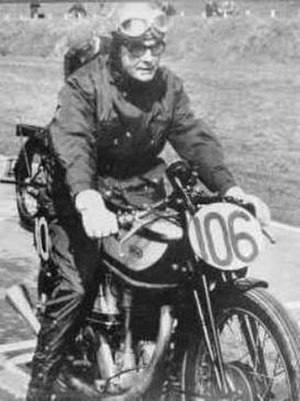 Freddie Frith - Frith demonstrating a 1930s Manx Norton at the Vintage Motor Cycle Club's Founder's Day rally, race meeting and parade gathering, 27 April 1969 at Mallory Park