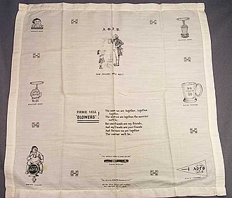 """Children's song - An ancient Order of Froth Blowers handkerchief, a humorous British charitable organisation, with the lyrics """"The More We Are Together"""", a popular British children's song from the 1920s"""
