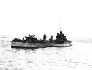 """V and W-class destroyer - HMS ''Wolverine'' (Admiralty Modified W class) as modified into a """"short range escort"""". She retains both boiler rooms and funnels, but has """"Y"""" gun replaced by depth charges, the after torpedo tubes replaced by a 12 pdr anti-aircraft gun, centimetric Radar Type 271 has been added on the bridge and (not visible) """"A"""" gun has been replaced by a hedgehog weapon."""