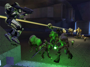 Flood (Halo) - Protagonist Master Chief (left) encounters the Flood in Halo: Combat Evolved (2001)