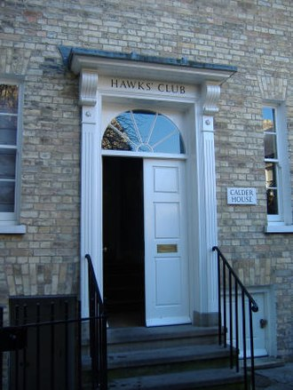 Hawks' Club - The front door of The Hawks' Club at 18 Portugal Place, off Bridge Street, Cambridge.