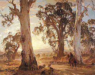 Hans Heysen - Droving into the Light, 1914-21, Art Gallery of South Australia
