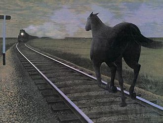 "Alex Colville - ""Horse and Train"""