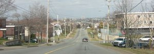 Fairview, Nova Scotia - Main Avenue, Fairview - with Tuft's Cove's smokestacks in the distance.