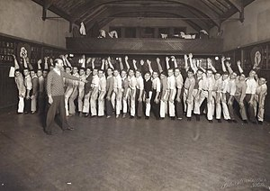 Mask and Wig - Company members rehearsing at the clubhouse in 1930.
