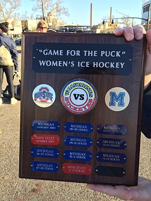 Michigan Wolverines women's ice hockey - A plaque has commemorated the winner of the season series between Ohio State and Michigan since 2004–05