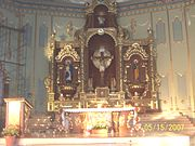 The Altar of St. Francis Xavier Parish in Nasugbu, Batangas, Philippines. St. Francis is the principal patron of the town, together with Our Lady of Escalera.