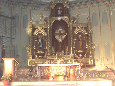The Altar of St. Francis Xavier Parish in Nasugbu, Batangas, Philippines. Saint Francis is the principal patron of the town, together with Our Lady of Escalera. Nasugbu 31 (New Church Altar).JPG