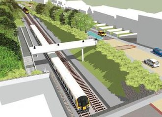 Pill railway station - A computer rendering of how a reopened Pill railway station would look, as seen from the south.