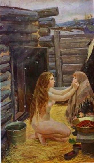 Arkady Plastov - Spring, 1954.  State Tretyakov Gallery, Moscow. Oil on canvas, 210 x 123 cm.