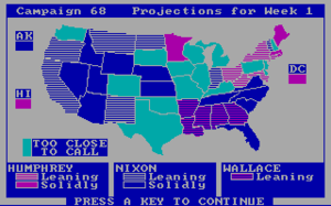 President Elect (video game) - 1968 Presidential election simulation, MS-DOS version