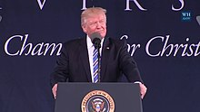"Liberty is one of the largest Christian universities in the world and the largest private non-profit university in the United States. Described as a ""bastion of the Christian right"" in American politics, the university plays a prominent role in Republican politics. President Donald J. Trump gave his first college commencement speech as sitting president at Liberty University."