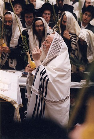 Naftali Halberstam - Grand Rabbi Naftali Halberstam of Bobov on the Jewish holiday of Succoth