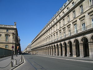 Rue de Rivoli - Rue de Rivoli as it runs along the north wing of the Louvre Palace, Paris, France