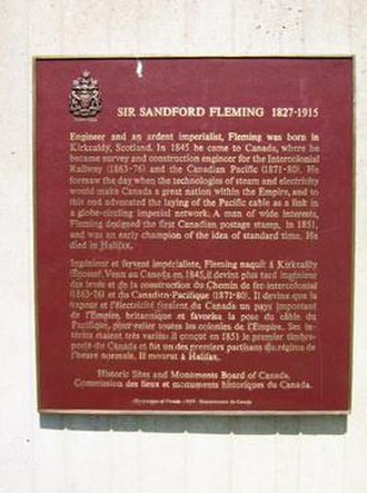 Sandford Fleming - This federal plaque at Ottawa's Dominion Observatory reflects Fleming's designation as a National Historic Person