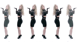 A scene of the video with several images of Spears, representing the  multiplicity theme