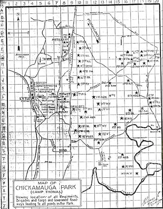 14th Regiment (New York State Militia) - Map of Camp Thomas in Chickamauga Park in Georgia 1898