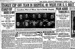 1919 Stanley Cup Finals - Announcement of Cancellation in The Globe