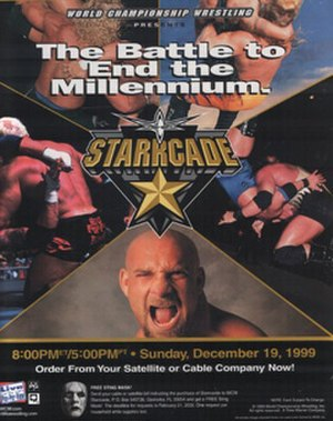 Starrcade (1999) - Promotional poster featuring Goldberg and several other wrestlers
