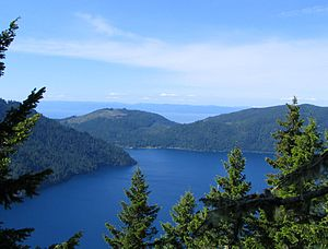 Mount Storm King - Taken June, 2006 on the summit trail. Lake Crescent is visible in the foreground, the Strait of Juan de Fuca in the background just over seven miles distant.
