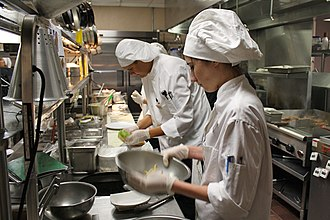 Hilton College of Hotel and Restaurant Management - Hilton College students work in the kitchen of Barron's Restaurant.