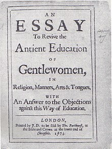 An essay to revive the ancient education of gentlewomen