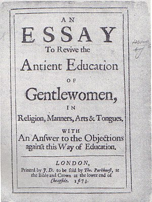 Bathsua Makin - Title page of the British Library's copy of An Essay