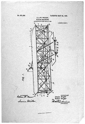 Harry Aubrey Toulmin Sr. - Partly Illustration of patent no. 821,393, the Wright flying machine patent prepared by Toulmin.