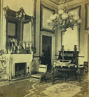 "Red Room (White House) - A stereograph view of the Red Room looking northwest, during the administration of Ulysses S. Grant. The center table, and ""ladies' chairs"" (one near the north door) were built by the Herter Brothers."