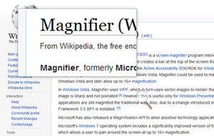 Magnifier's lens mode on Windows 10