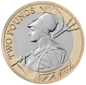 £2 coin Britannia reverse