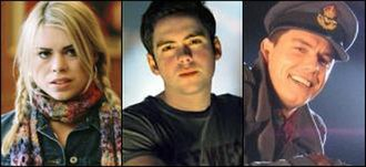 Ninth Doctor - The companions of the Ninth Doctor. From left to right, Rose Tyler, Adam Mitchell and Captain Jack Harkness.