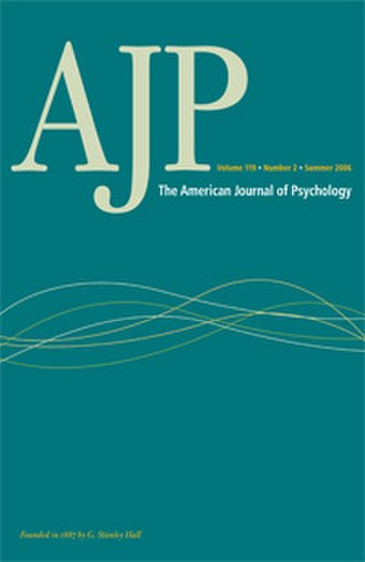 American Journal of Psychology - Image: American Journal of Psychology cover