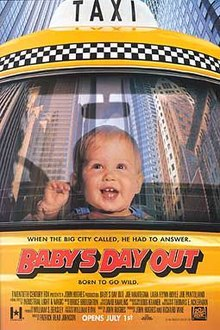 "Film poster depicting a infant in a taxi, happily watching these buildings. The title ""Baby's Day Out"", a text ""When the big city called, he had to answer. Born to go city."", the names of the cast, director, producer, and music composer, and a release date appear at the bottom of a film poster."