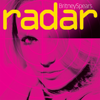 "Close up of the face a blond woman. She is looking into the camera with her hair covering her left eye. The image has a layer of pink and is divided in four parts, resembling an actual radar. On the upper side of the image, the words ""Britney Spears"" are written in white letters. Underneath, ""radar"" is written in big yellow small letters."