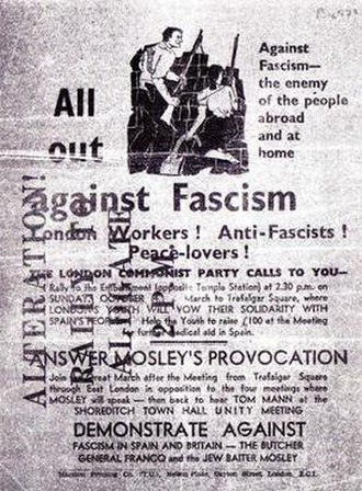 Battle of Cable Street - Flyer distributed by the London Communist Party