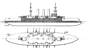 USS Minnesota (BB-22) - Line-drawing of the Connecticut class