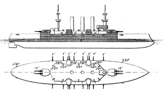 USS New Hampshire (BB-25) - Line-drawing of the Connecticut class